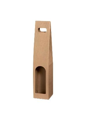 Wine carrier box 1-bottle 90x90x445mm Natura